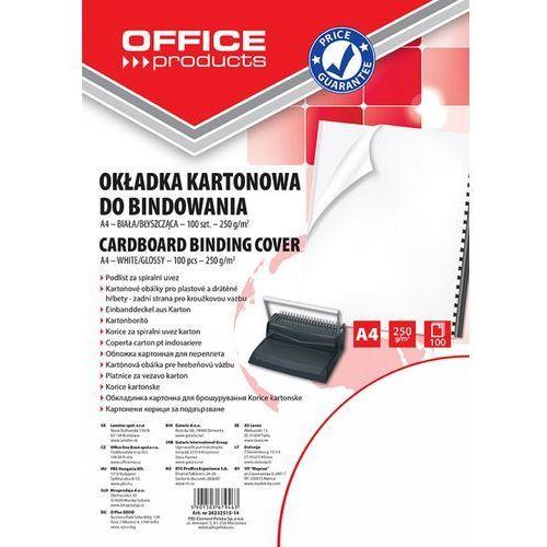 Okładki do bindowania OFFICE PRODUCTS, karton, A4, 250gsm, błyszczące, 100szt., białe (5901503679463)