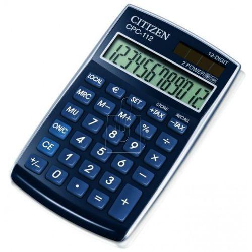 Kalkulator biurowy CITIZEN CPC-112 BLWB, 12-cyfrowy, 120x72mm, niebeiski (4562195133186)