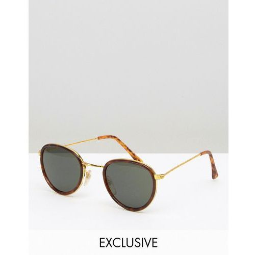 Reclaimed Vintage Inspired Round Sunglasses With Gold Frame Tortoiseshell - Brown