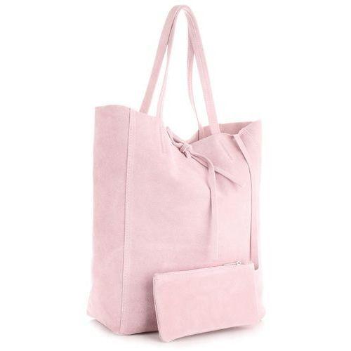 b0c223bf31357 Modne Torebki Skórzane typu ShopperBag z Etui Zamsz Naturalny Wysokiej  Jakości Pudrowy Róż (kolory)