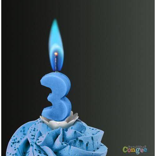 """Świeczka cyferka trójka """"3"""" z niebieskim płomieniem - 1 szt."""