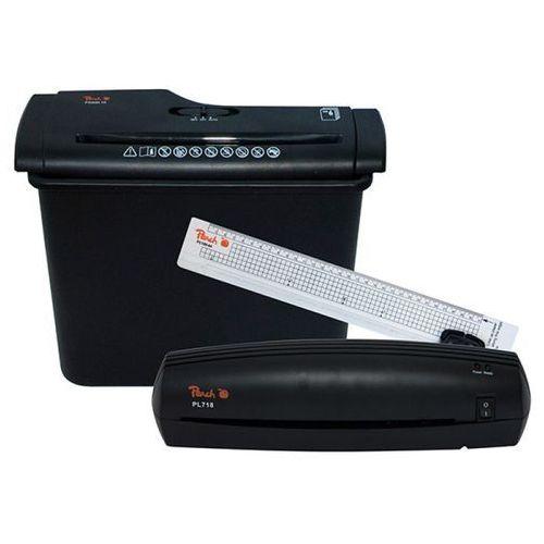 Zestaw office kit PEACH PBP200 4in1 - niszczarka laminator trymer oraz folia do laminacji (7640124894623)