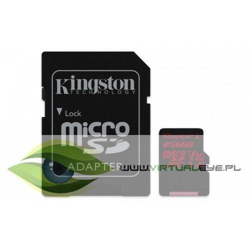Kingston karta pamięci microsd 256gb canvas react 100/80mb/s adapter u3 uhs-i a1