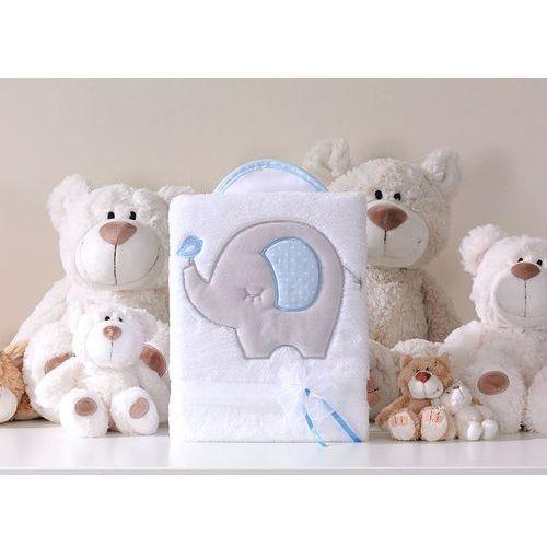 kocyk dla dzieci długowłosy dwustronny z haftem słonik biało-błękitny marki Mamo-tato