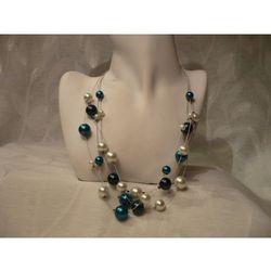 N-00040 Naszyjnik z perełek szklanych, turkusowych, białych i granatowych - sprawdź w wybranym sklepie