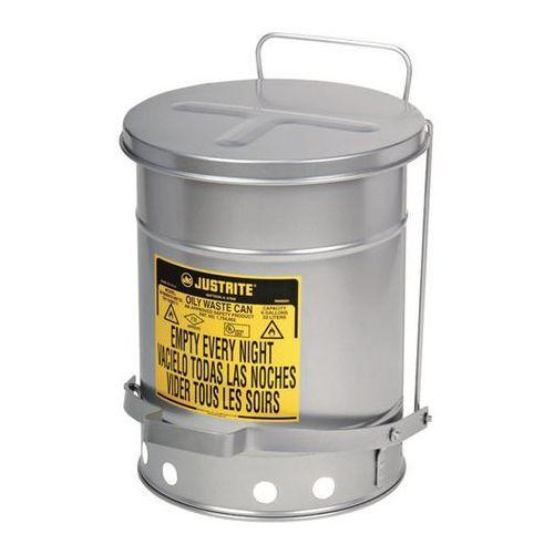 Justrite Bezpieczny pojemnik na odpady soundgard™, lakierowany na kolor srebrny, ciche za