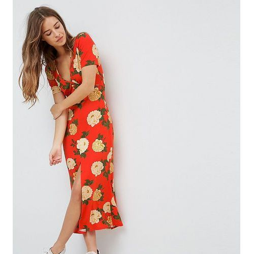 ASOS PETITE City Maxi Tea Dress with V Neck and Button Detail in Red Floral Print - Red, kolor czerwony