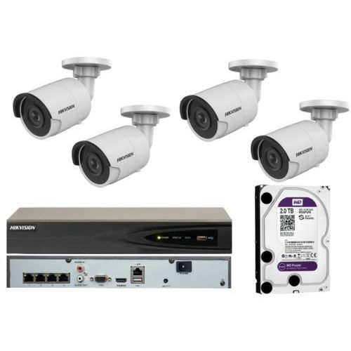 Zestaw monitoringu zewnętrznego na 4 kamery 8MPX z zasilaniem PoE i dużym dyskiem 2TB, DS-2CD2083G0-I