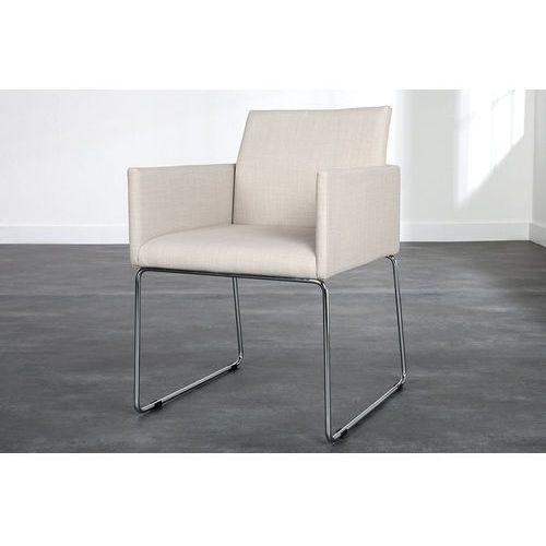 Krzesło Porto - beżowe z podłokietnikami - beżowe z podłokiet., kolor beżowy