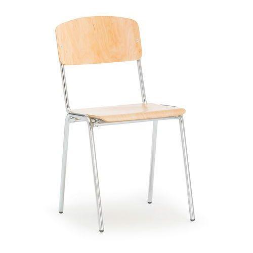 Krzesło do stołówki Clinton brzoza chrom