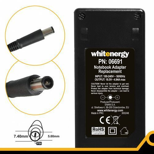 zasilacz 18.5v 4.9a wtyczka 7.4 x 5.0 mm + pin hp marki Whitenergy