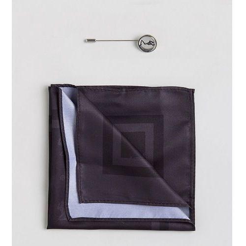 Religion Tie Pin & Pocket Square Set In All Over Print - Black
