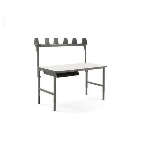 Stół roboczy CARGO, 1600x750 mm, półka na listy, nadstawka