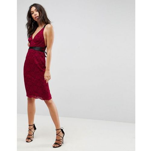ASOS Lace Pencil With Ribbon Ties Midi Dress - Red, kolor czerwony