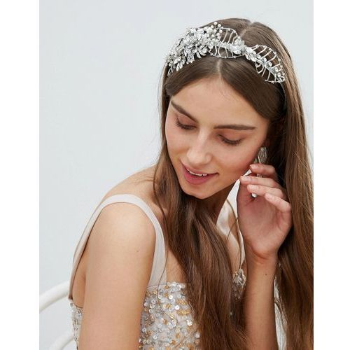 Stone & Rose Beaded Wire Flower Crown - Silver