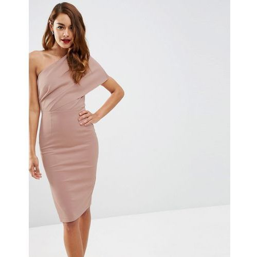 one shoulder scuba deep fold midi dress with exposed zip - pink, Asos