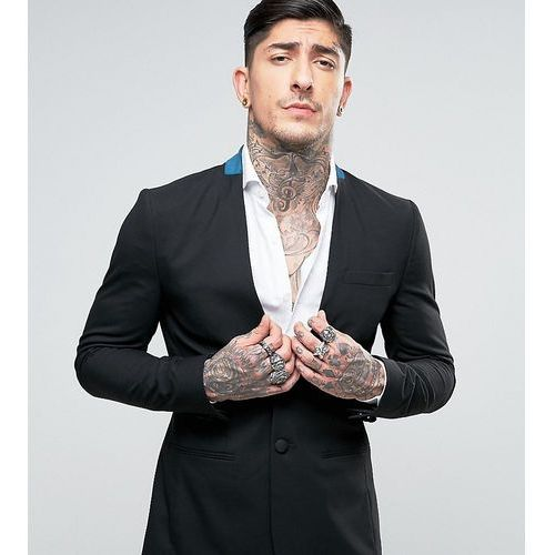 Religion Super Skinny Collarless Suit Jacket with Contrast Velvet Back Neck - Black