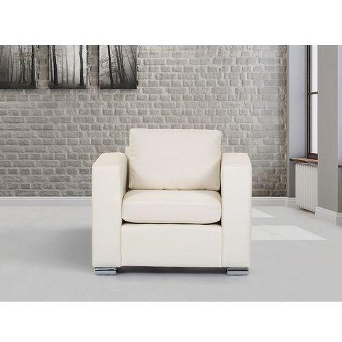 Beliani Skórzany fotel beżowy - sofa - helsinki