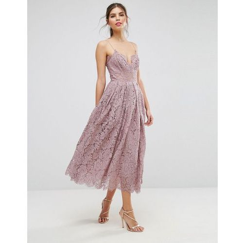 lace cami midi prom dress - purple, Asos