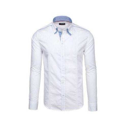 Biała koszula męska elegancka z długim rękawem denley 4780, By mirzad