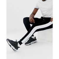 Asos design super skinny joggers in velour with side stripes - black