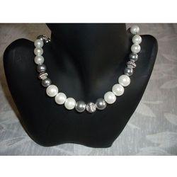 N-00034 Naszyjnik z perełek szklanych, popielatych i białych, towar z kategorii: Naszyjniki i korale