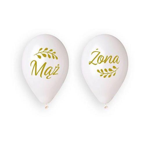 Balony lateksowe z nadrukiem weselnym Mąż i Żona - 33 cm - 4 szt. (8021886329599)