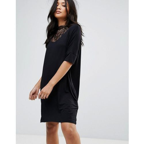 Y.A.S Busy Lace High Neck Shift Dress - Black