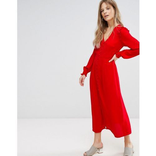 button front midi dress - red marki New look