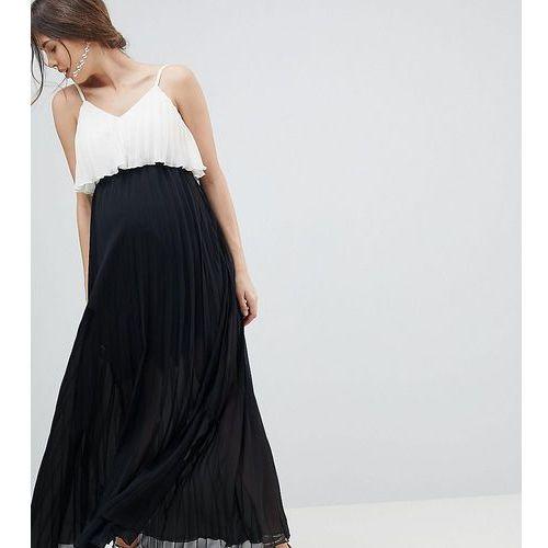 Asos maternity Asos design maternity crop top maxi dress in pleated colourblock - black