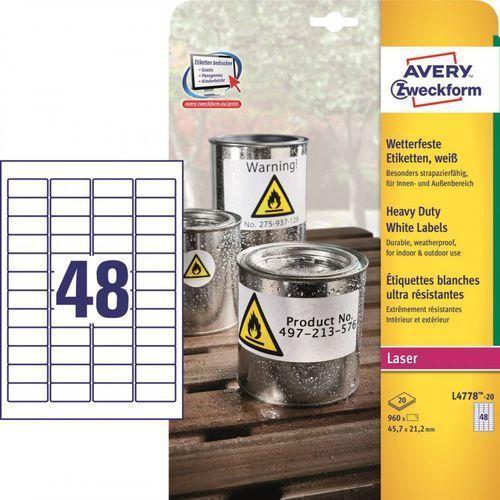 Etykiety ochronne Avery Zweckform Heavy Duty L4778, 45,7x21,2mm - sprawdź w wybranym sklepie