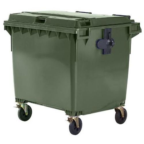 Schaefer group Duży pojemnik z tworzywa na odpady wg pn en 840, poj. 1100 l, zielony. wg din en