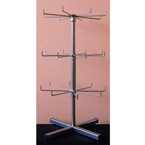 Obrotowy, trzy poziomowy, metalowy stojak do prezentacji np. breloków - srebrny, 00625