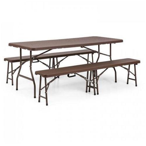 burgos meble ogrodowe stół 2 ławki stal hdpe składany brąz marki Blumfeldt