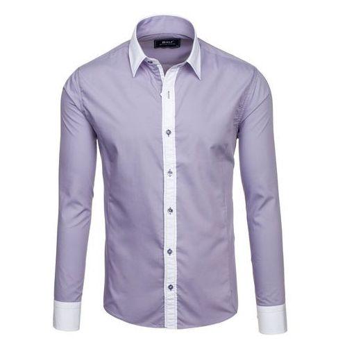 Szara koszula męska elegancka z długim rękawem Bolf 6882 - SZARY, kolor szary