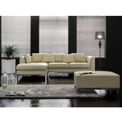Beliani Sofa narożna p – skórzana – beżowa - sofa z pufą - kanapa oslo