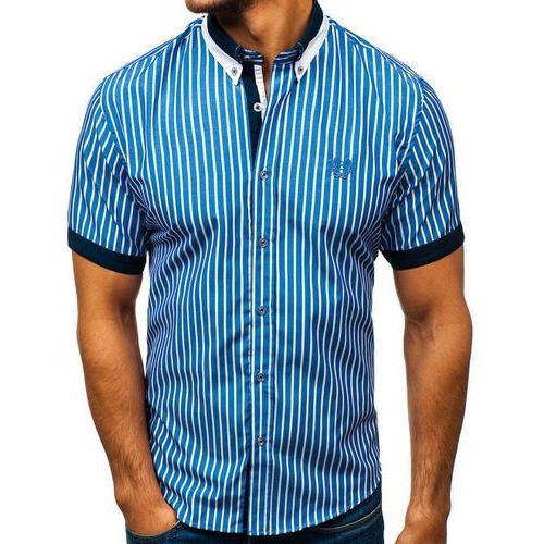 Bolf Koszula męska elegancka w kratę z krótkim rękawem niebieska 4501