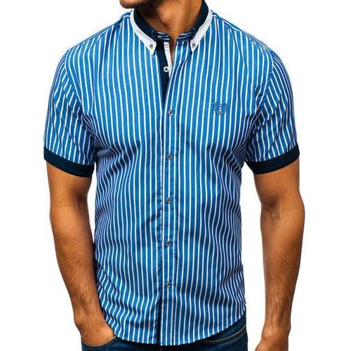 Koszula męska elegancka w kratę z krótkim rękawem niebieska Bolf 4501, kolor niebieski