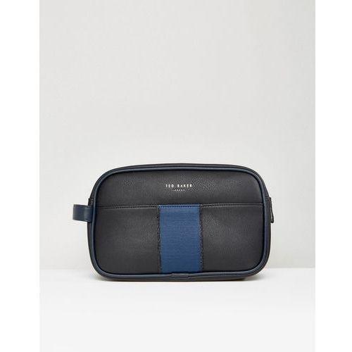 Ted Baker Black Wash Bag With Contrast Blue Panel - Black