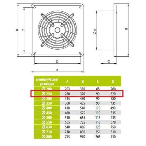 Ścienny Wentylator Wyciągowy Przemysłowy Średnice od 200 do 630 mm Bardzo Wydajny Arok Średnice: 250