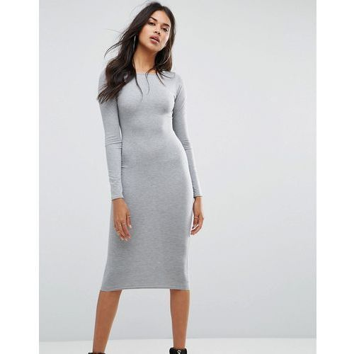 long sleeve midi dress - grey, Boohoo