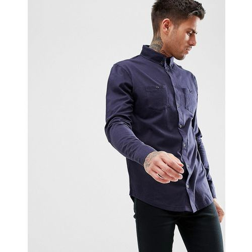 boohooMAN Jersey Shirt In Regular Fit With Double Pockets In Navy - Navy, kolor szary