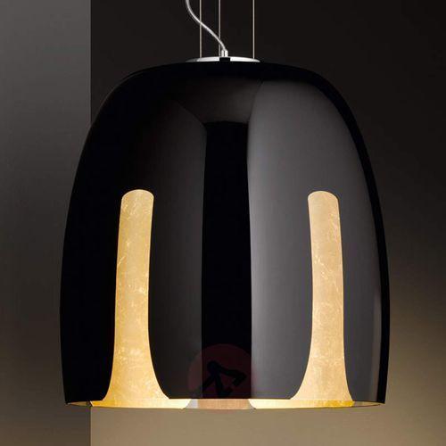Trio leuchten Modna, szklana lampa wisząca madera, czarno-złota (4017807394757)