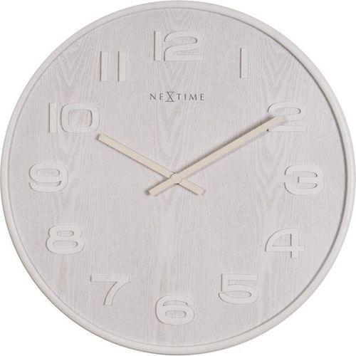 Nextime - zegar ścienny wood wood big - biały