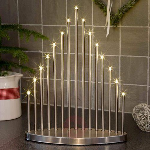 Świecznik metalowy LED ze szczotkowanego aluminium Świecznik metalowy Konstsmide 2495-900TR, LED, ciepły biały, (SxWxG) 30 x 38 x 10 cm