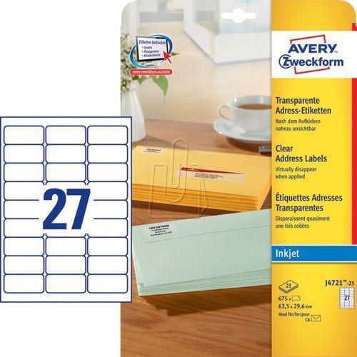 Etykiety adresowe Avery Zweckform przezroczyste 63,5 x 29,6mm 25 ark./op. J4721-, 87732