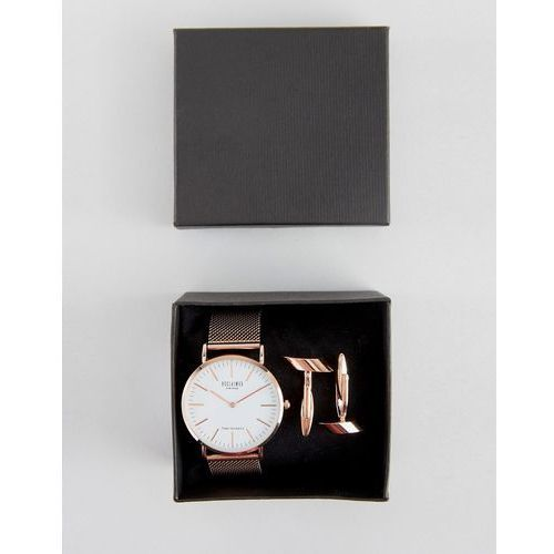 Reclaimed vintage  classic mesh watch & cufflinks gift set in rose gold - gold
