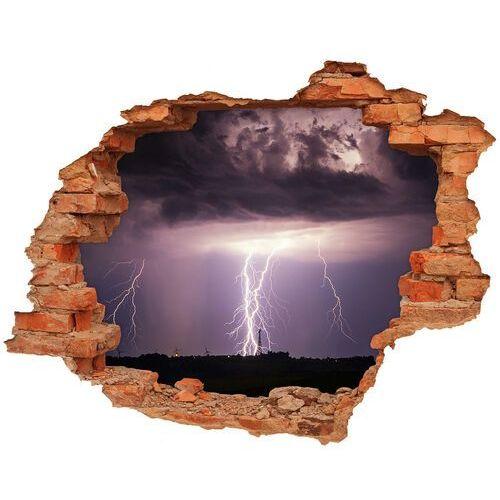 Wallmuralia.pl Dziura 3d w ścianie naklejka burza z piorunami