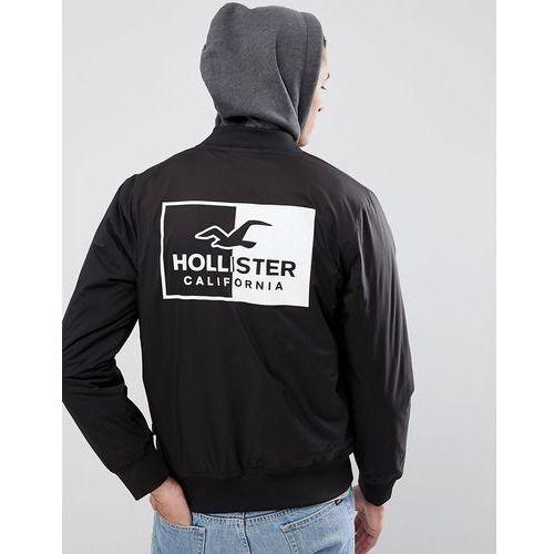 Hollister Back Logo Stretch Bomber Jacket With Sweat Hood in Black - Black