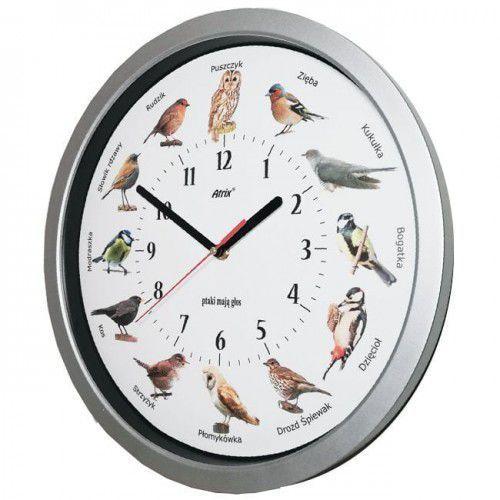 Zegar z głosami ptaków srebrny duży 35cm, kolor szary